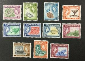 PITCAIRN ISLAND, #20-30, 1957 set of 11, FVF, OG, MNH. CV $52.30. (BJS)