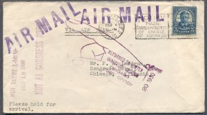 1930 Air Mail Return to Sender HOTEL Cover: Large Chicago Pointing Finger