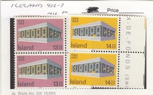 J25786  jlstamps 1969 iceland  set pair mnh #406-7 europa checked f/condition