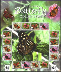 Isle Of Man. 2011. Small sheet 1668-74. Butterflies, WWF. MVLH.