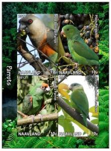 NAAVLAND SHEET IMPERF CINDERELLA BIRDS PARROTS