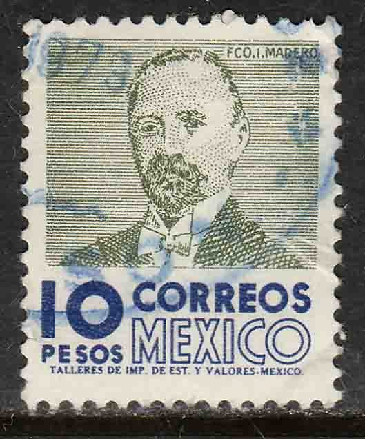 MEXICO 930a, $10Pesos 1950 Def 2nd Issue WMK 300 USED. F-VF. (1423)