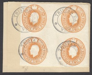 Tristan da Cunha, SG C3 - KGV 2p Block tied on large piece, 1922 cds on reverse