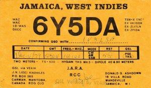 7307 Amateur Radio QSL Card  MANDEVILLE JAMAICA WEST INDIES