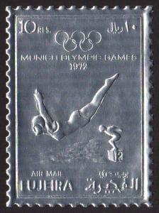 Fujeira Mi #1281A  mnh - 1972 Summer Olympics Munich - perf - silver foil