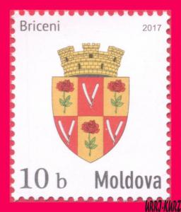 MOLDOVA 2017 Heraldry Coat of Arms of Briceni Citiy Town Definitive 1v Sc933 MNH