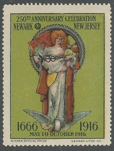 Newark, New Jersey 250th Anniversary, 1916, Poster Stamp / Cinderella Label