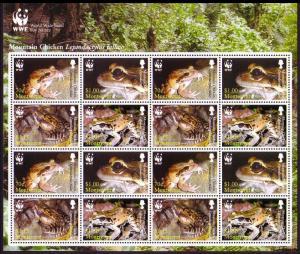 Montserrat WWF Mountain Chicken Frog Sheetlet of 4 sets SG#1326-1329 SC#1159a-d