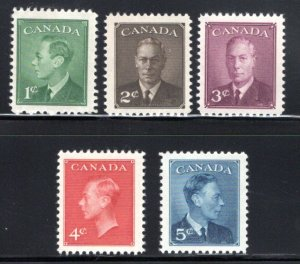 Scott 284-288, Set, MNHOG, VF, KG VI with Posted-Postage Omitted, Canada
