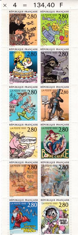 France 1993  Booklet Pane Complete (12) Greetings VF/NH