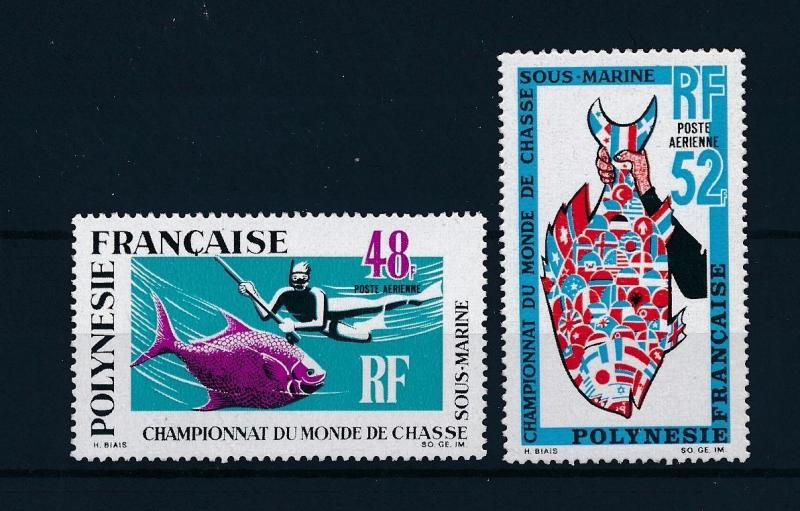 [48828] French Polynesia 1969 Marine life Fish Diving Flags MNH