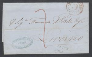 Italy, 1855 Stampless GENOA-LIVORNO by Santa Maria & Lertora Forwarding Agent