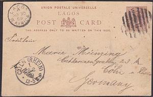 LAGOS NIGERIA 1889 Lagos 1d postcard commercially used to Germany...........1496