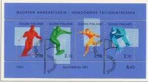 Finland Sc  872 1991 Skiing stamp sheet used