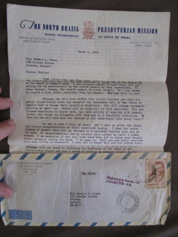 1960 Brazil To USA Airmail Cover - Misdirected With Mission Letter (XX42)