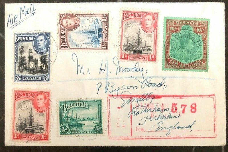 1943 Hamilton Bermuda Airmail Cover To England Scott # 126b High Value Stamp!