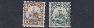 CAROLINE ISLAND 1915 - 19  S G 27 & 28  VALUES TO 5PF    MNH