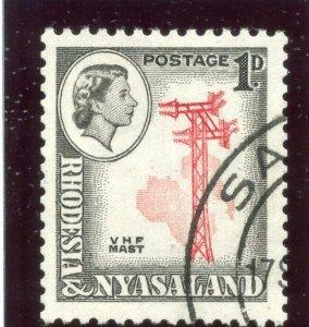 Rhodesia & Nyasaland 1959 QEII 1d carmine-red & black (p12½x14) VFU. SG 19a.