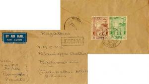 Burma 1/2a and 8a Independence 1948 Rangoon S.T.O. Registered Airmail to Raya...