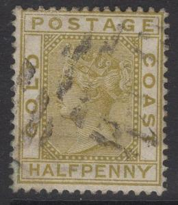 GOLD COAST SG9 1883 ½d OLIVE-YELLOW USED