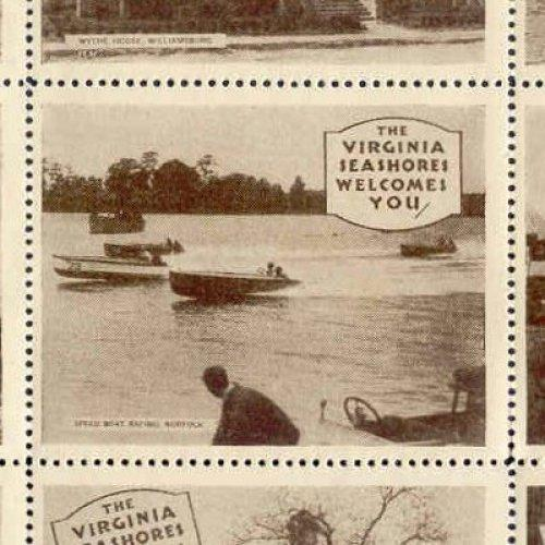 US - VIRGINIA SEASHORES WELCOMES YOU Poster Stamps Sheet