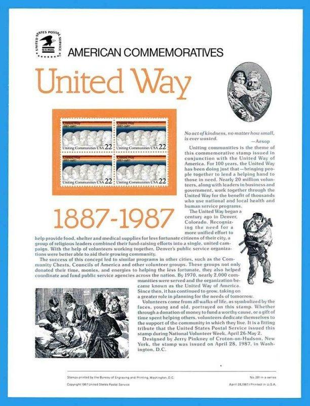 USPS COMMEMORATIVE PANEL #281 UNITED WAY #2275