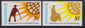 Bahamas 1981 Year of the Disabled Scott (484-85) MNH