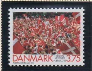 Denmark  Scott 965 1992 Soccer Champions stamp mint NH