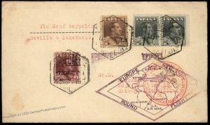 Spain Germany 1930 Graf Zeppelin Barcelona Lakehurst USA Si58E Cover 97070
