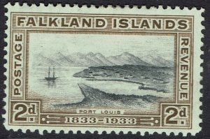 FALKLAND ISLANDS 1933 CENTENARY 2D PORT LOUIS