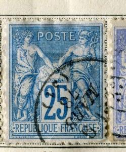 FRANCE;  1876-77 early classic SAGE issue fine used 25c. value