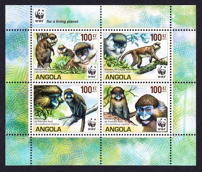 Angola WWF Monkeys Guenons block of 4 with WWF Logo