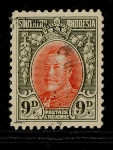 SOUTHERN RHODESIA GV SG21b, 9d vermilion & olive green, FINE USED. Cat £14.