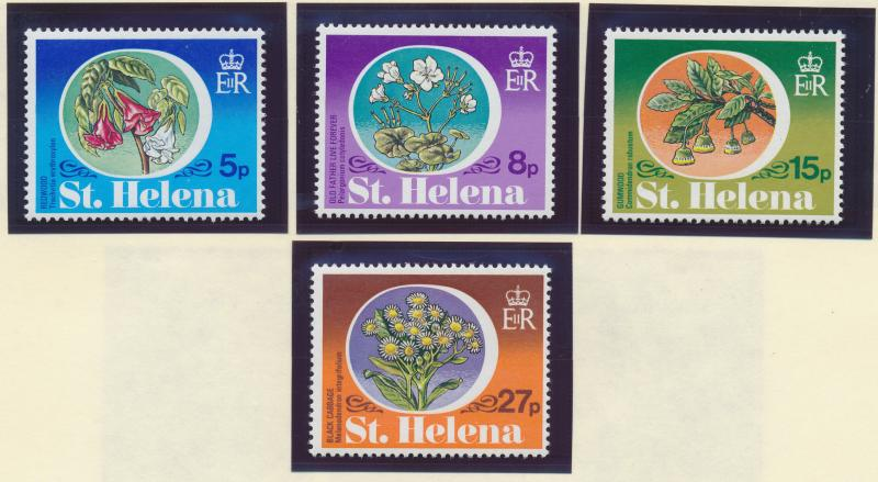 St. Helena Stamp Set Scott #344-7, Mint Very Lightly Hinged, Flowers