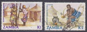 Zambia # 252-253, Grinding Corn, Woman Smoking Used 1/3 Cat.
