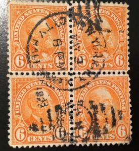 638 1922 Americans Series, 11x10.5 perf., Circ. block, Vic's Stamp Stash