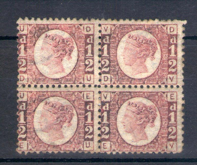 1/2d PLATE 13 MOUNTED MINT BLOCK OF 4