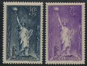 France #B44-5* CV $13.50 Statue of Liberty postage stamps