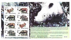Indonesia MNH S/S Rhinos Conservation WWF 1996