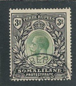 SOMALILAND 1921 3r DULL GREEN & BLACK FU SG 84 CAT £120