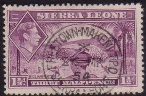 SIERRA LEONE 1954 GVI 1½d FREETOWN - MAKENI TPO cds........................60243