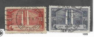 France #311-312 Used - Stamp - CAT VALUE $9.00