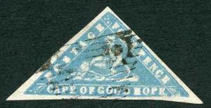 COGH SG14 4d Pale Milky Blue WOODBLOCK Triangle (heavy vertical crease)