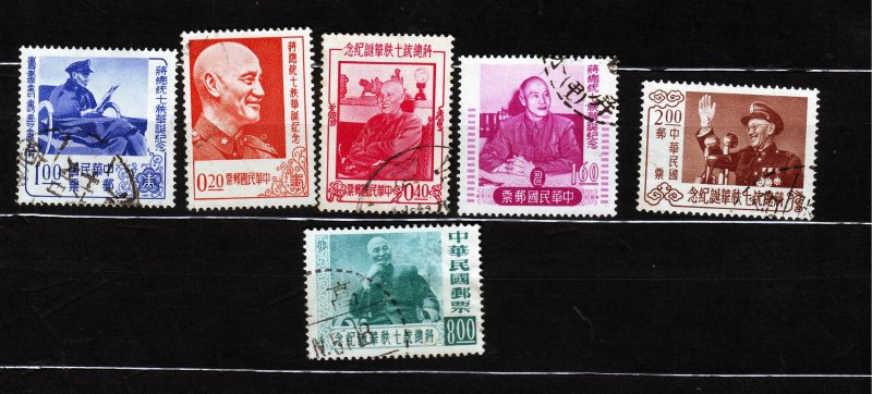 J22920 JLstamps 1956 china taiwan set used #1143-8 chiang kai-shek