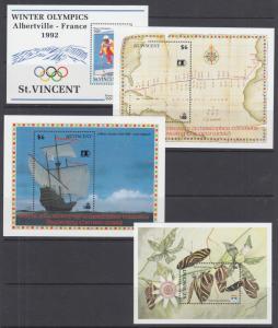 St. Vincent Sc 1598//1880 MNH. 1992-1993 issues, 7 different Souvenir Sheets, VF