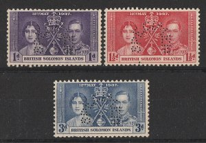 SOLOMON ISLANDS : 1937 KGVI Coronation set 1d-3d perf SPECIMEN. MNH **.