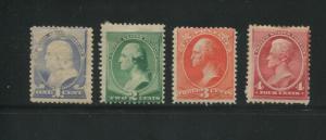 1887 US Stamps #212-215 Mint Hinged Average Original Gum Regular Issue