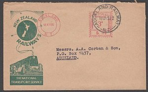NEW ZEALAND 1955 Official Railway cover3d meter AUCKLAND RAILWAY cds........B419