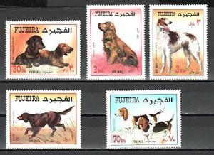 Fujeira, Mi cat. 602-606 A. Various Dogs issue.