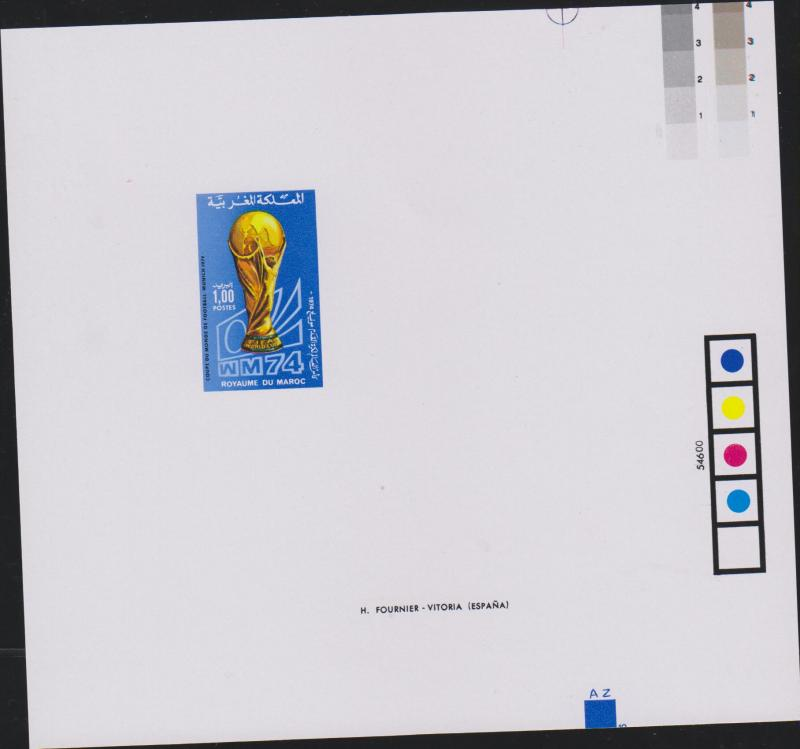 E) 1974 MOROCCO, PROOF, WORLD SOCCER CUP, MUNICH, 323 A132,  S/S, MNH